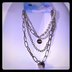 SilverTone & Faux Pearl Layered Chain Heart